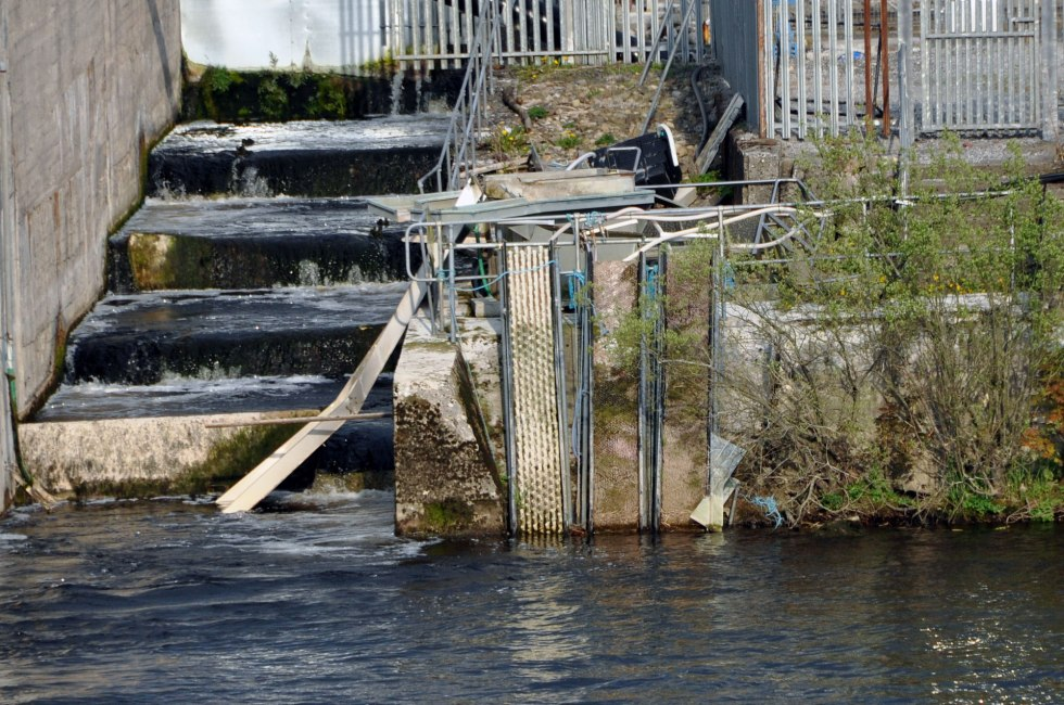 Derelict elver traps at Parteen weir